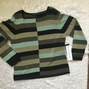 MWT Josephine Chaus :Green Striped Long Sleeve Top